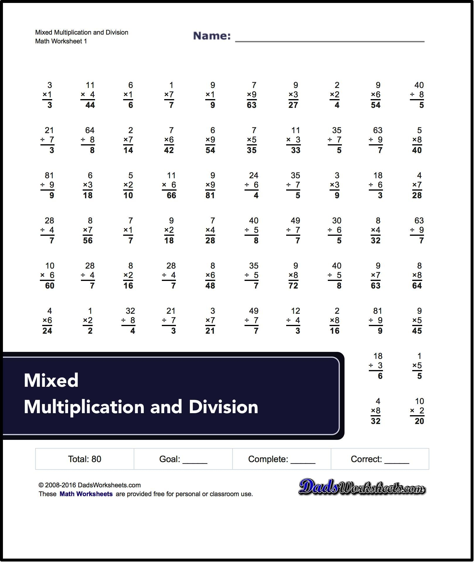 Division Worksheets Mixed Multiplication And Division