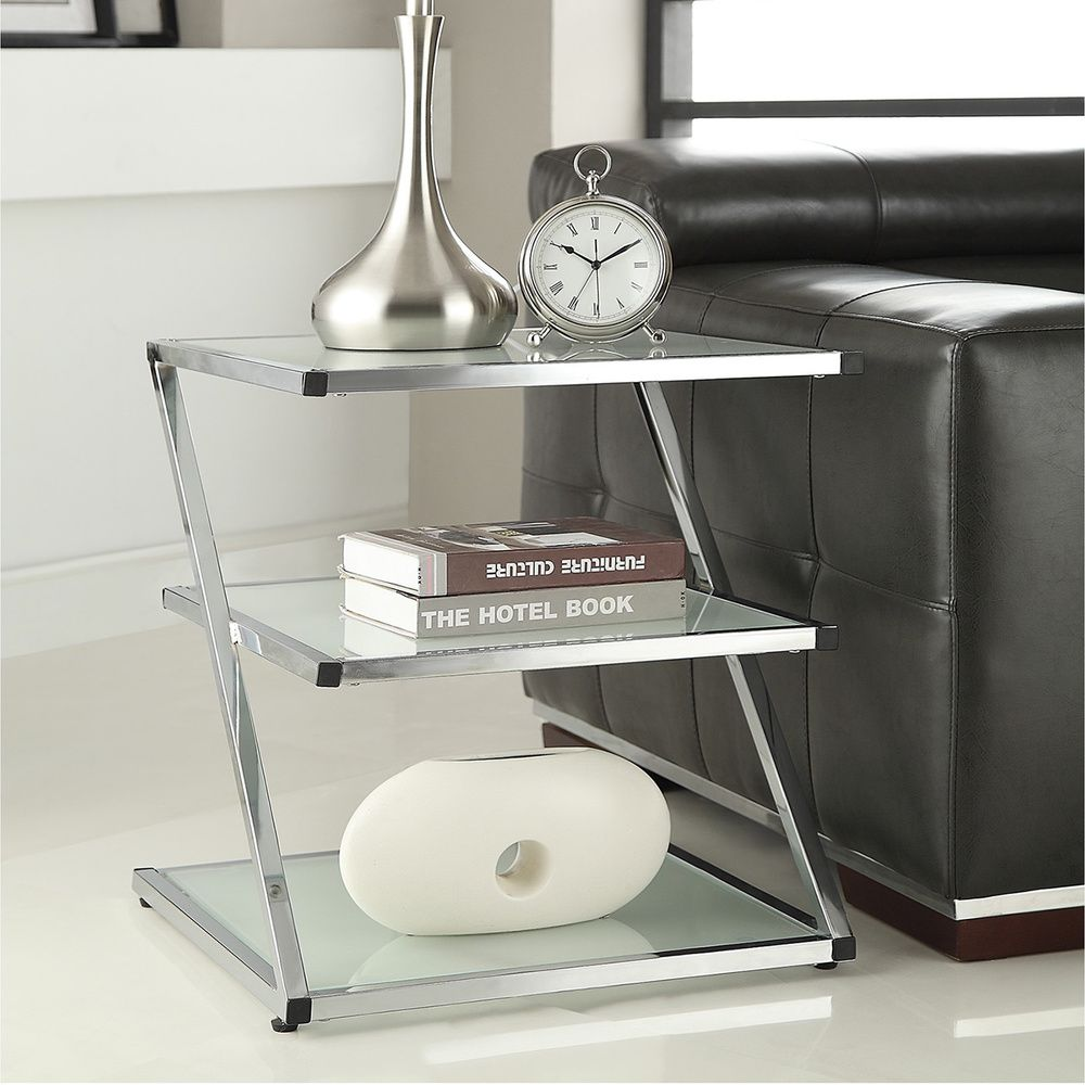 Glass Side End Lamp Coffee Table Lounge Low Occasional: Chrome Finish Glass Chair Side End Table