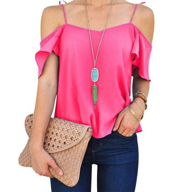 Off The Shoulder Womens Sexy Summer Tops 2017 Ladies Office Shirts Elegant Blusas Ruffle Blouse Femme Plus Size Women Clothing