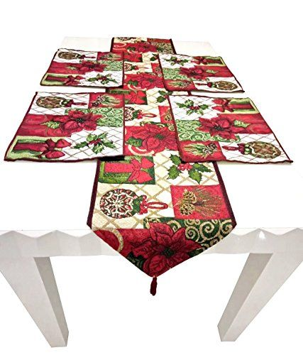 Shinybaby Christmas Tapestry Table Runner And Placemats With Poinsettia  Pattern For Christmas Thanksgiving Day Easter 5 Pieces Set 1 Table Runner 4u2026