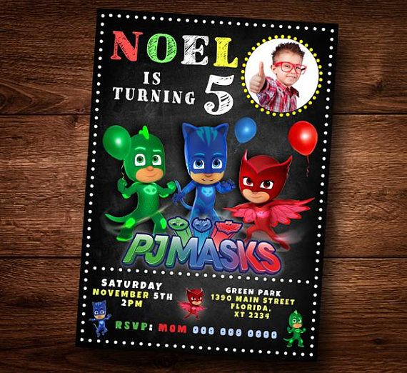 PJ Mask Invitation Card For Kids Party Birthday