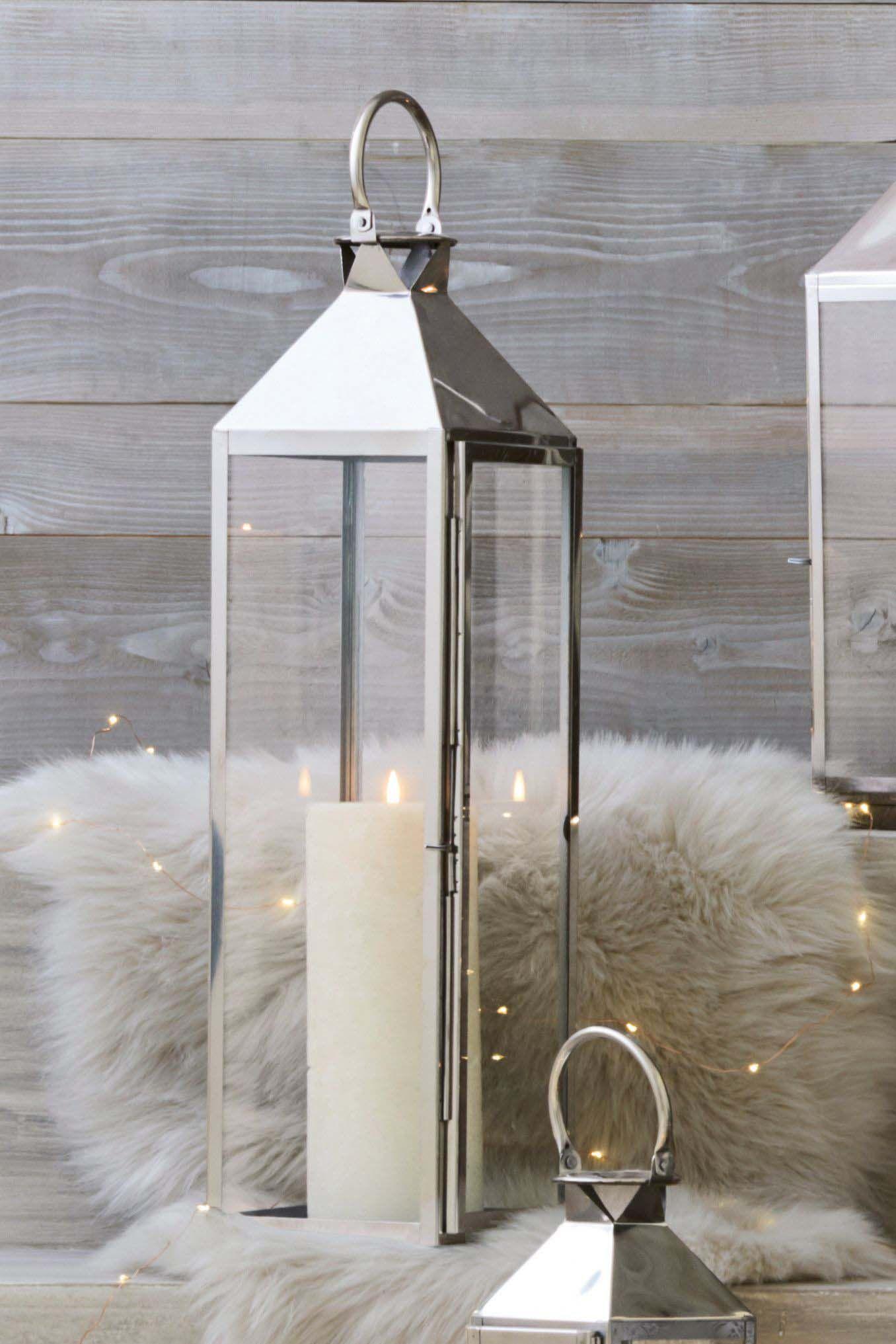 Next Xl Lantern Silver In 2021 Chrome Lantern Lantern Decor Living Large Lantern Decor
