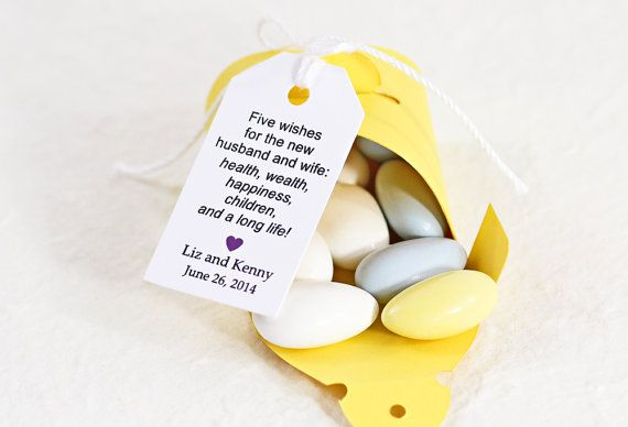 Jordan Almond Favor Tags Poem Dragees Koufeta Wedding Favors Sugared Five Wishes Bonbonaire 1 25 X 2 Set Of