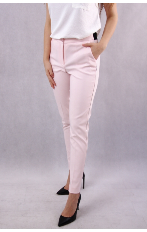 Eleganckie Wizytowe Spodnie Damskie Delikatnym Lampasem Pudrowy Roz She Fashion Capri Pants Pants