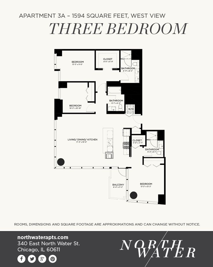 Apartment 3A - Three Bedroom - 1594 Square Feet - West ...