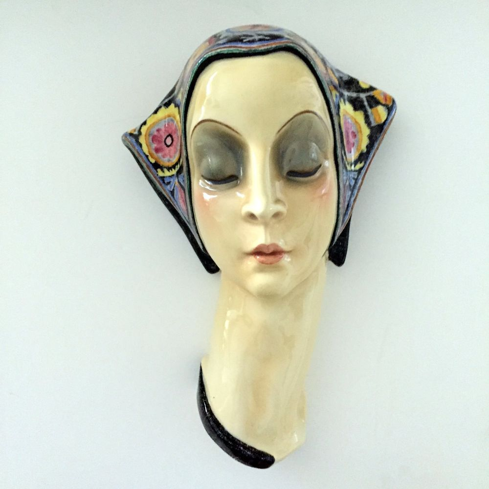Large Rare Lenci Essevi Art Deco Porcelain Rare Wall Mask | Art deco ...