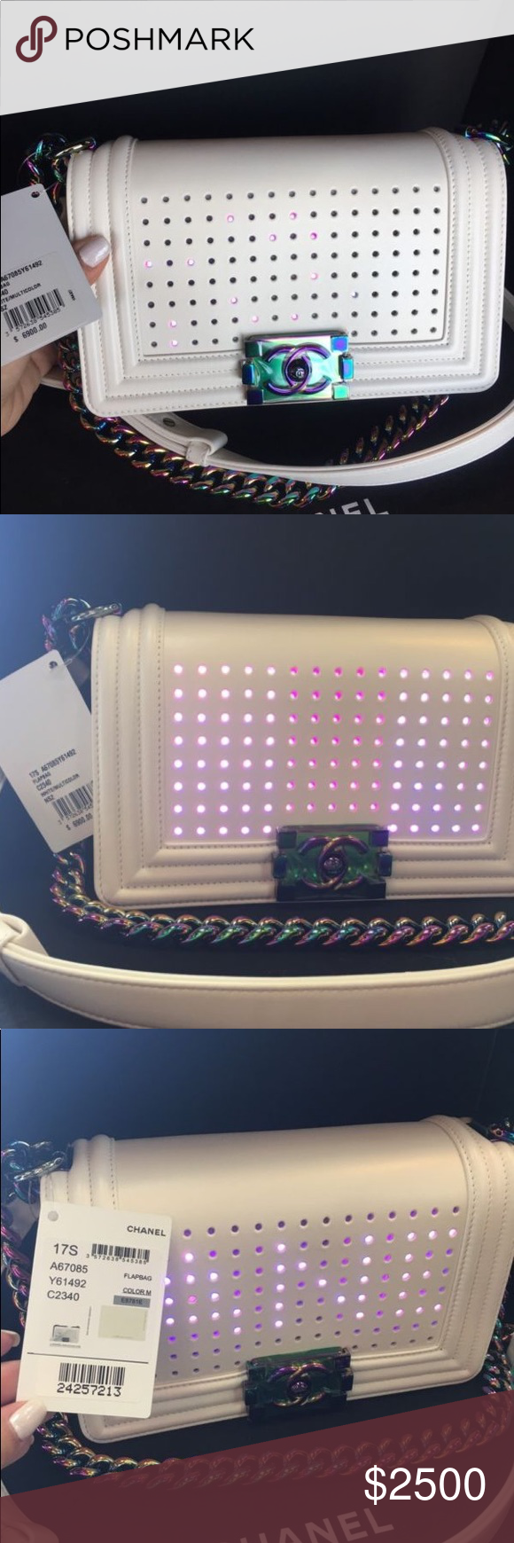 196575727f12 LED WHITE BOY BAG IRIDESCENT RAINBOW HARDWARE 100% authentic. Gorgeous bag.  2017!! New!! Price is negotiable. Text me for more details 2059974929 CHANEL  ...