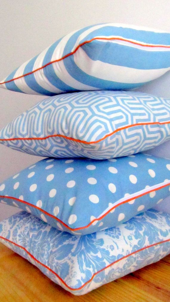 Turquoise and white scatter cushion cover by ScarletPincushion