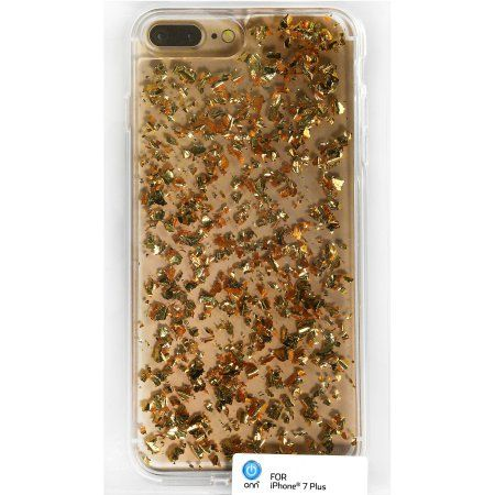 promo code 53cef bde66 ONN Clear Case with Gold Flecks for iPhone 7 Plus - Walmart.com ...