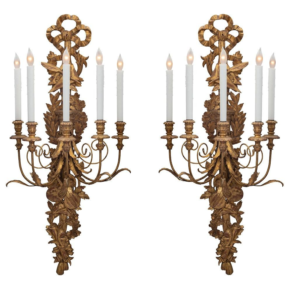 A Pair Of Italian 19th Century Giltwood Sconces Cedric Dupont Antiques Sconces Wall Sconce Lighting Candlelit