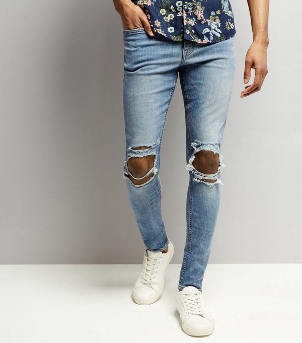 d009c689e26 Pale Blue Light Wash Ripped Knee Super Skinny Jeans | New Look ...
