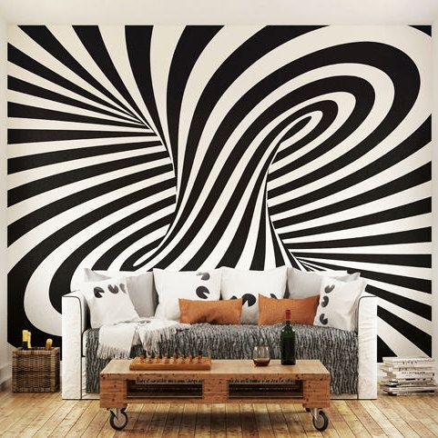 Large Funky Round The Bend Pattern Photo Wallpaper Wall Mural For Living Room Decals