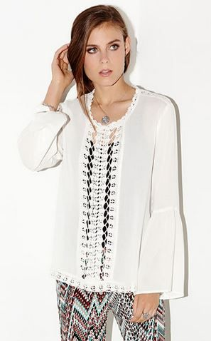 BOHO CHIC OFF WHITE CROCHET LACE INSET PEASANT TOP #Boho #Chic #Karen_Kane #Off_White #Lace #Crochet #Peasant #Top #Made_in_the_USA #Fashion