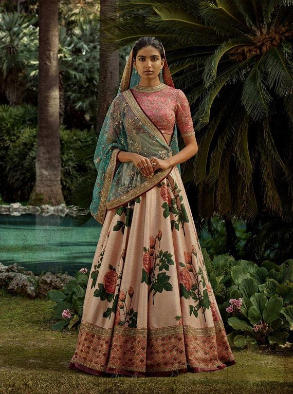 77a722bb80 Indian designer Crop top lehenga skirt with digital print and heavy work  blouse and duppta
