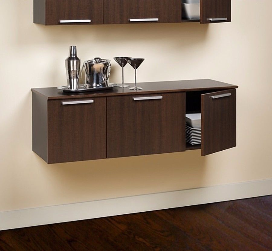 Furniture Yaletown Espresso Wall Mounted Buffet Contemporary Dining