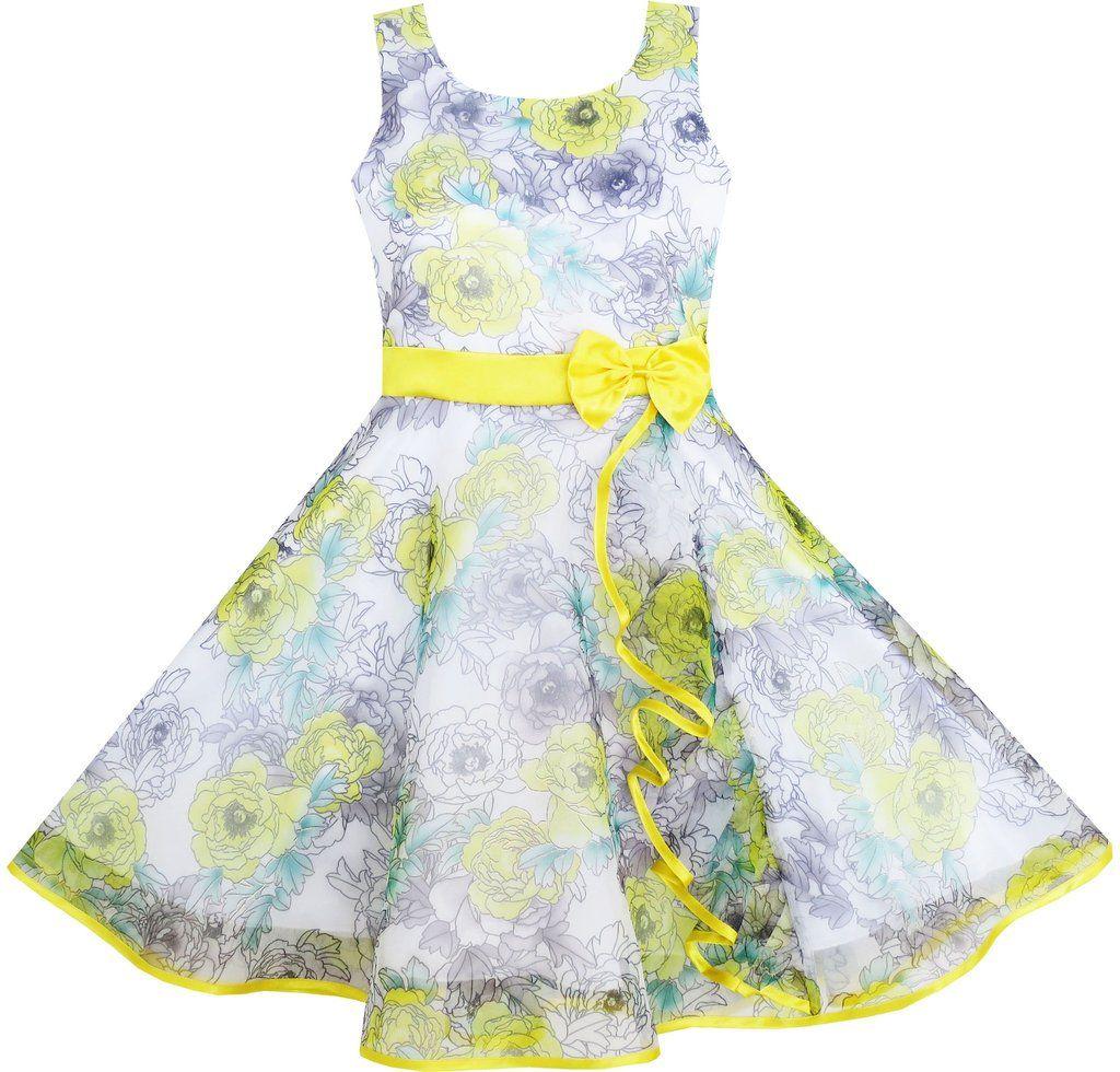 Sunny Fashion Princess Belle Costume Dress Up Girls Dress Yellow Size 4-12