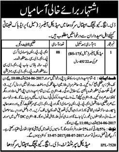 Jobs For Medical Officer In DHQ Teaching Hospital Sargodha Http