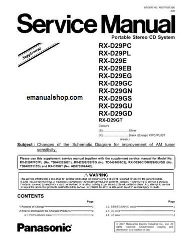 Panasonic RXD29E Service Manual Download Service