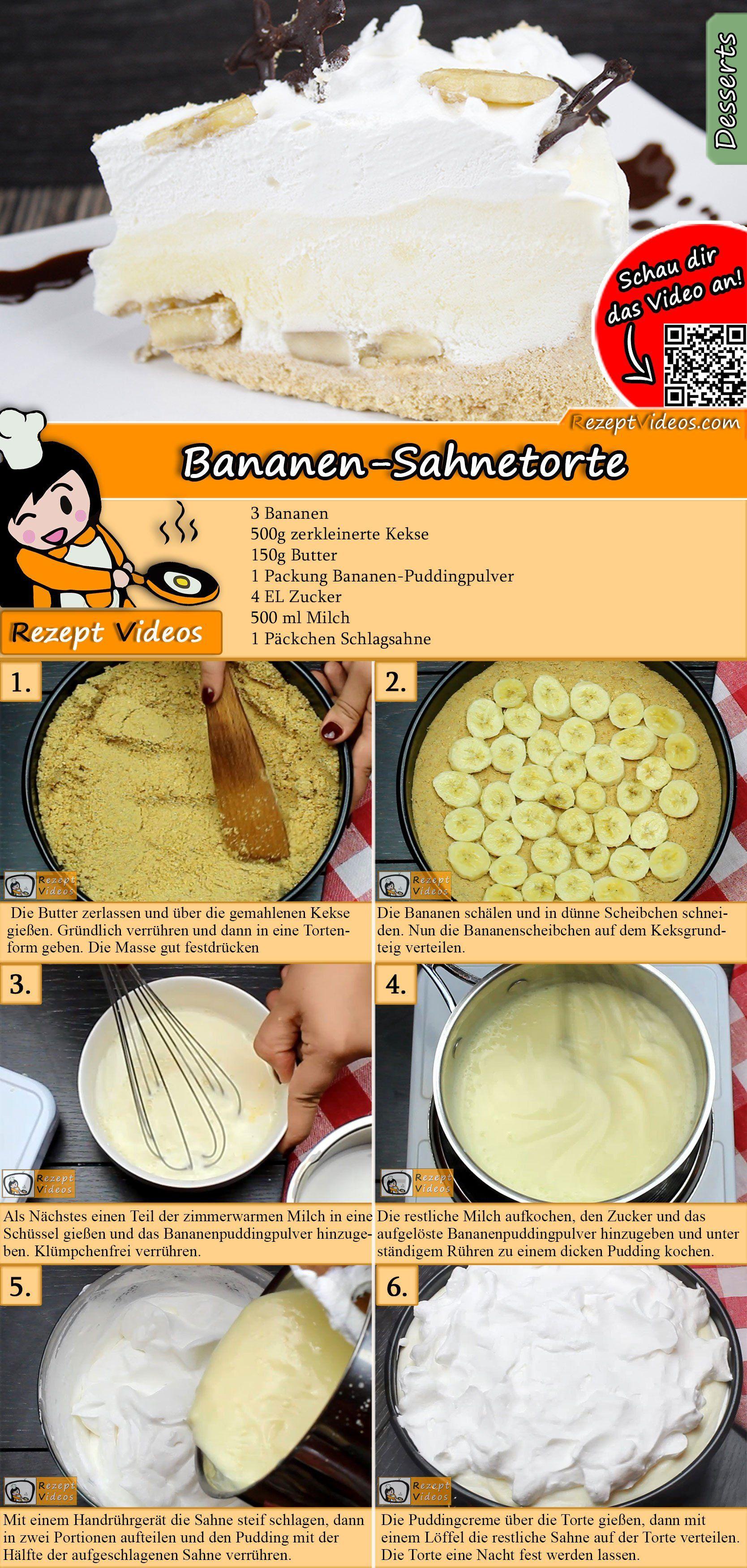 Bananen-Sahnetorte Rezept mit Video - Backrezepte/ Kuchen backen