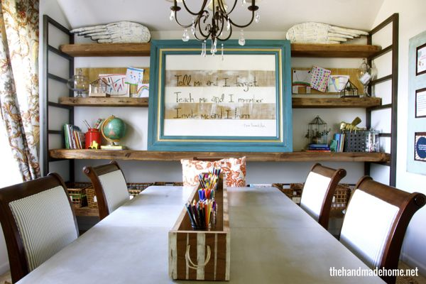 freebie of the month : positive printables | the handmade home also love this room! How fun for a homework room!