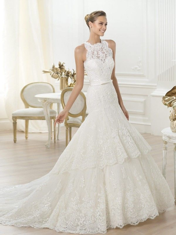 Grandiose Trumpet/Mermaid High Neck Chapel Train Lace Wedding Dress ...