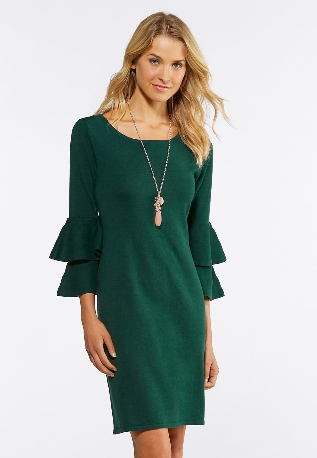 b5eeb8d6597 Double Ruffle Sweater Dress Junior Misses Cato Fashions