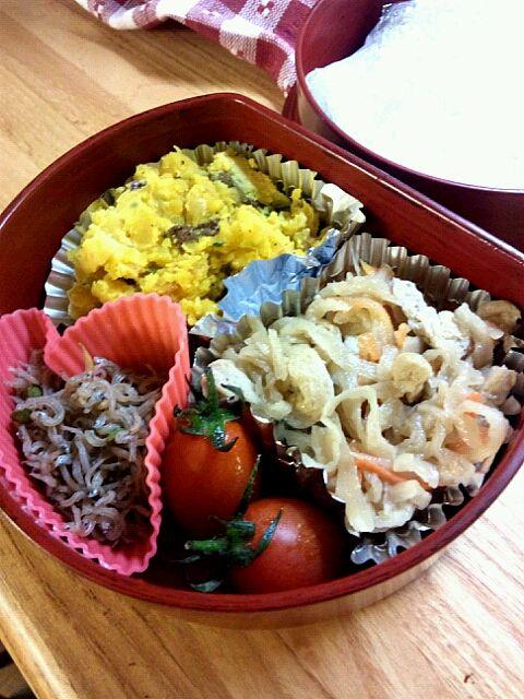 明日6/7 - 0件のもぐもぐ - きりぼし、かぼちゃサラダ、ちりめん山椒、プチトマト by azusaazure