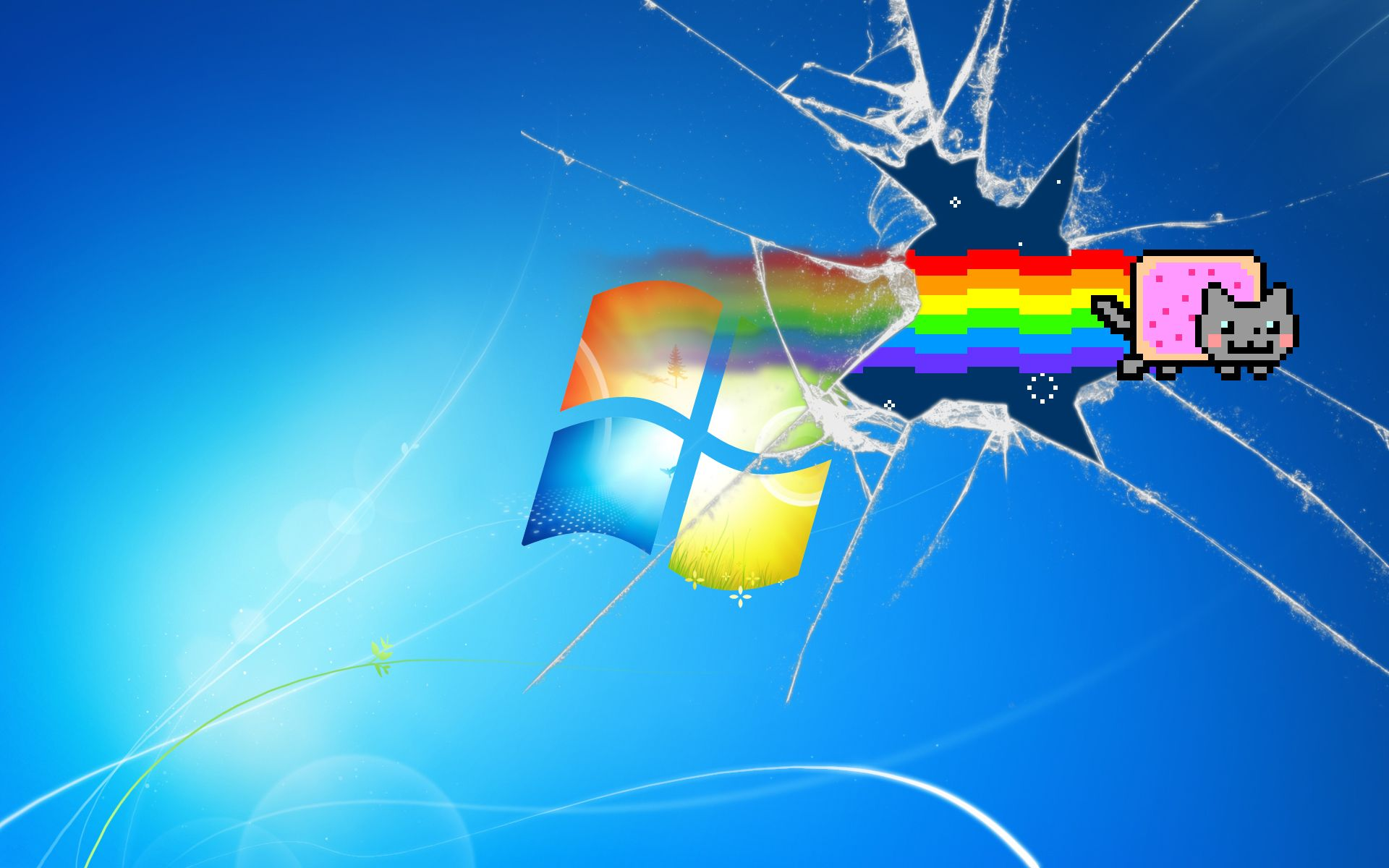 Nyan Cat In Harmony Wallpaper Computer Wallpaper Desktop Wallpapers Windows Wallpaper Broken Screen Wallpaper
