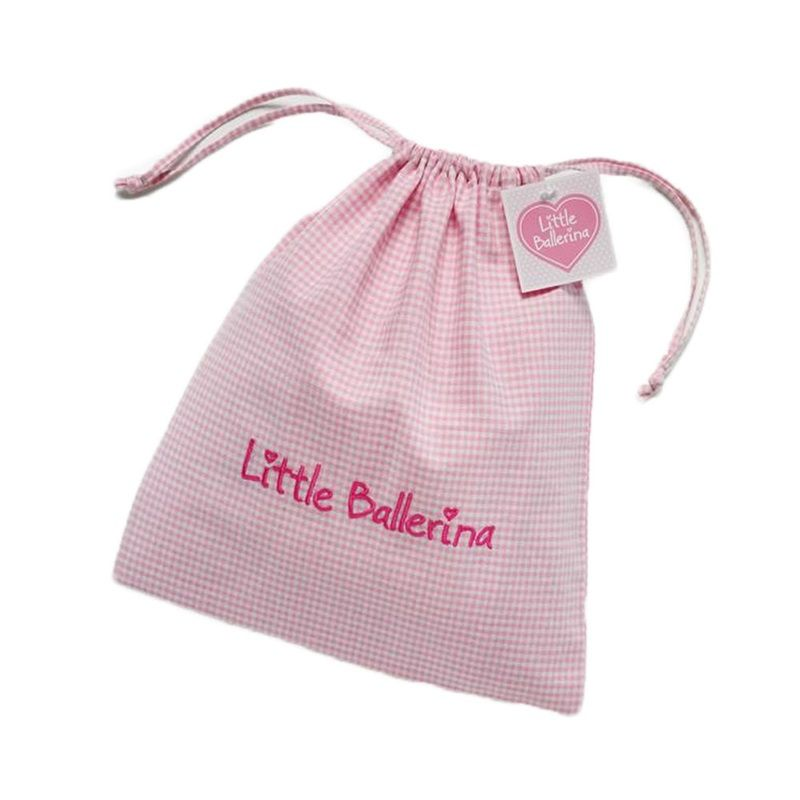 Little Ballerina Shoe Bag Large Pink And White Chequered Soft By
