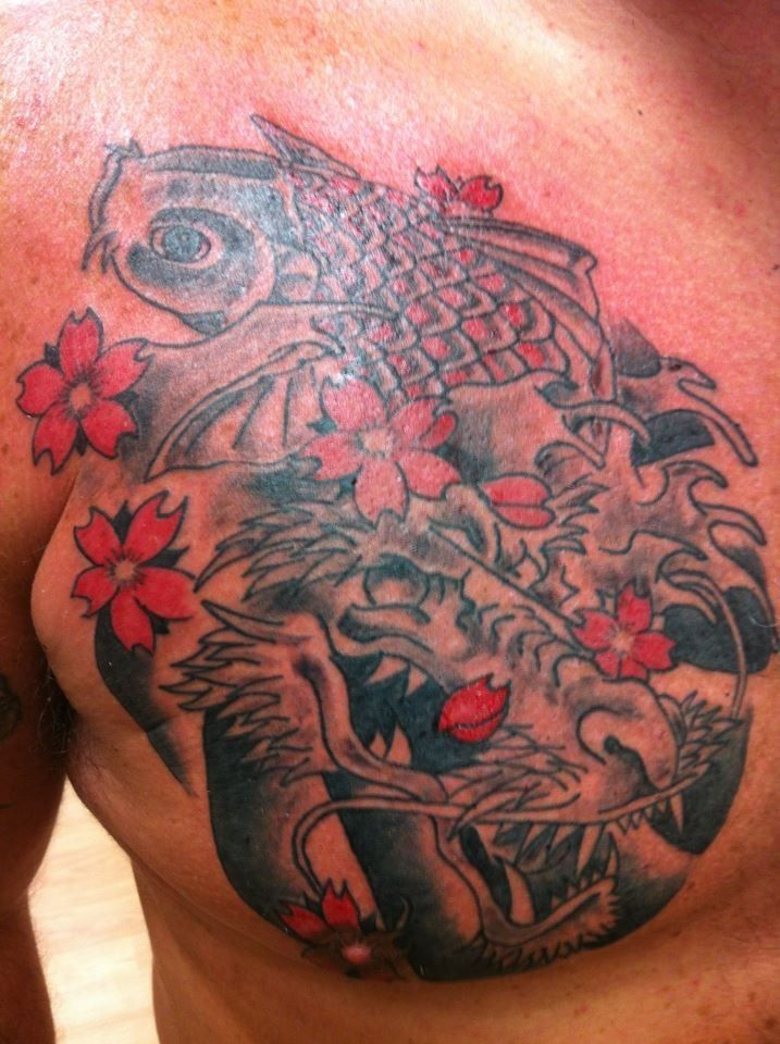 Koi Fish Chest Plate Tattoo Covering Scar: Japanese Style. Koi And Dragon. Start Of A Chest Plate And