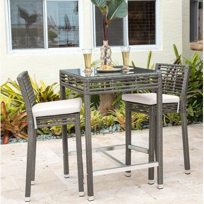 Panama Jack Outdoor Graphite 3 Piece Bar Height Dining Set With