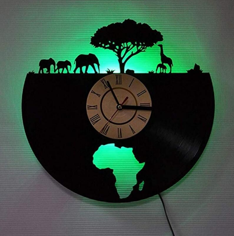 vinyl wall clock led colorful lights clock african on wall clocks battery operated id=30775