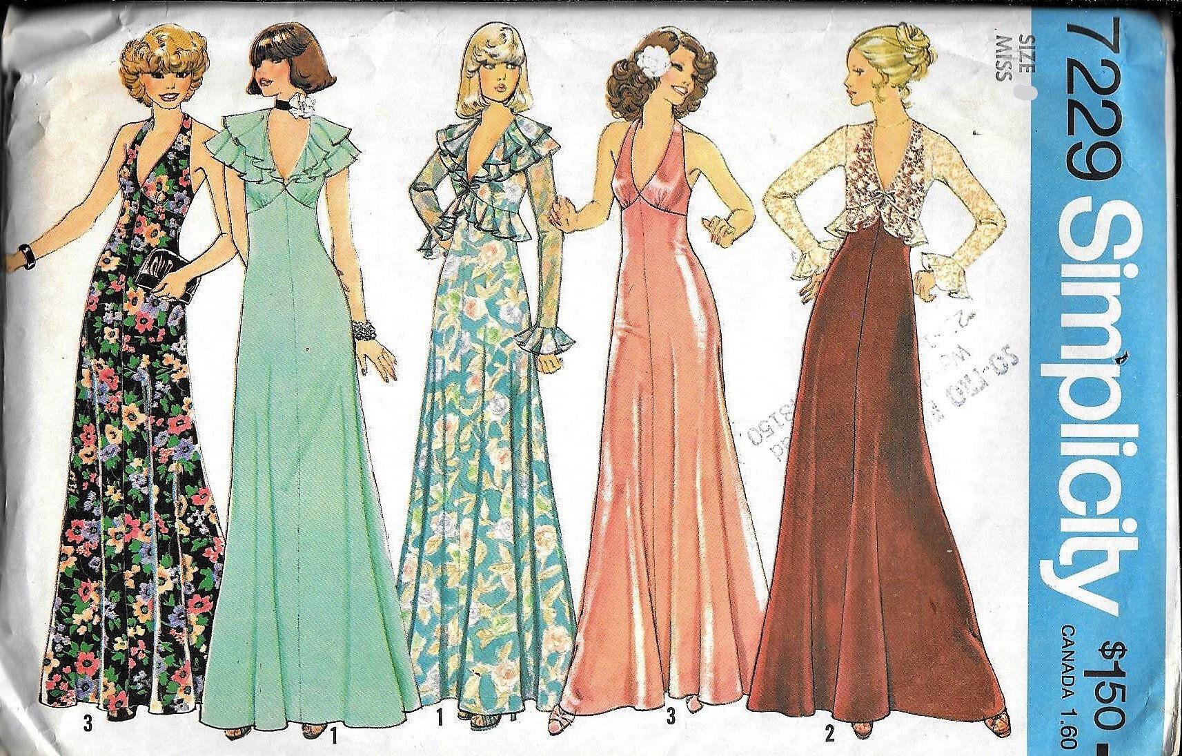 Vintage 1970 S Simplicity 7229 V Neck Halter Maxi Evening Dress Jacket Sewing Patte Prom Dress Sewing Patterns Simplicity Patterns Dresses Halter Dress Pattern [ 1095 x 1713 Pixel ]