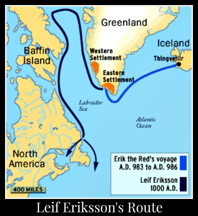 This map depicts Leif Eriksson's explorations tot he