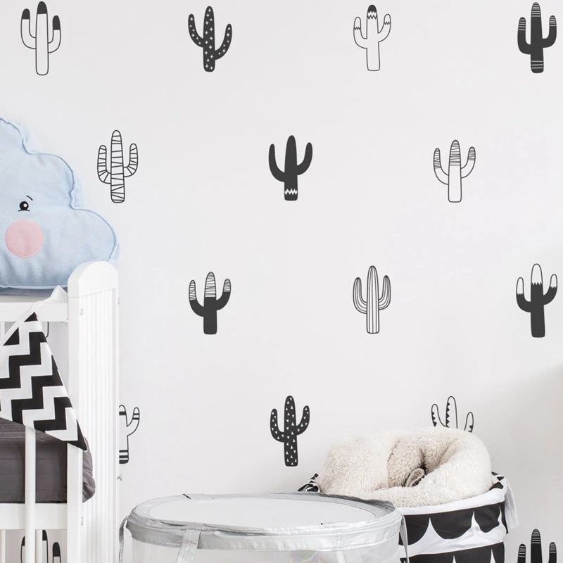Little Cactus Wall Decals Nordic Style Nursery Diy Wall Decor