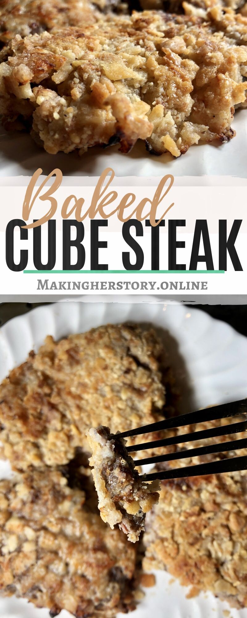 Photo of Baked cube steak with a crispy buttery crust that is full of…