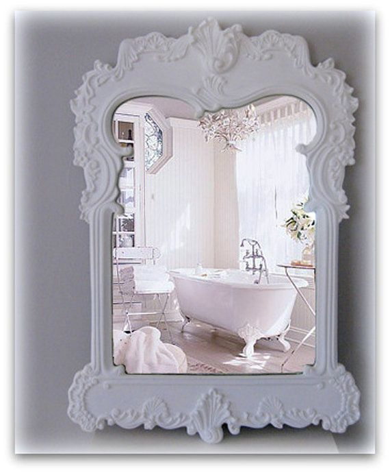 Awesome French Cottage Shabby Chic Bathrooms | French Bathroom Mirror Shabby Chic  White Mirror