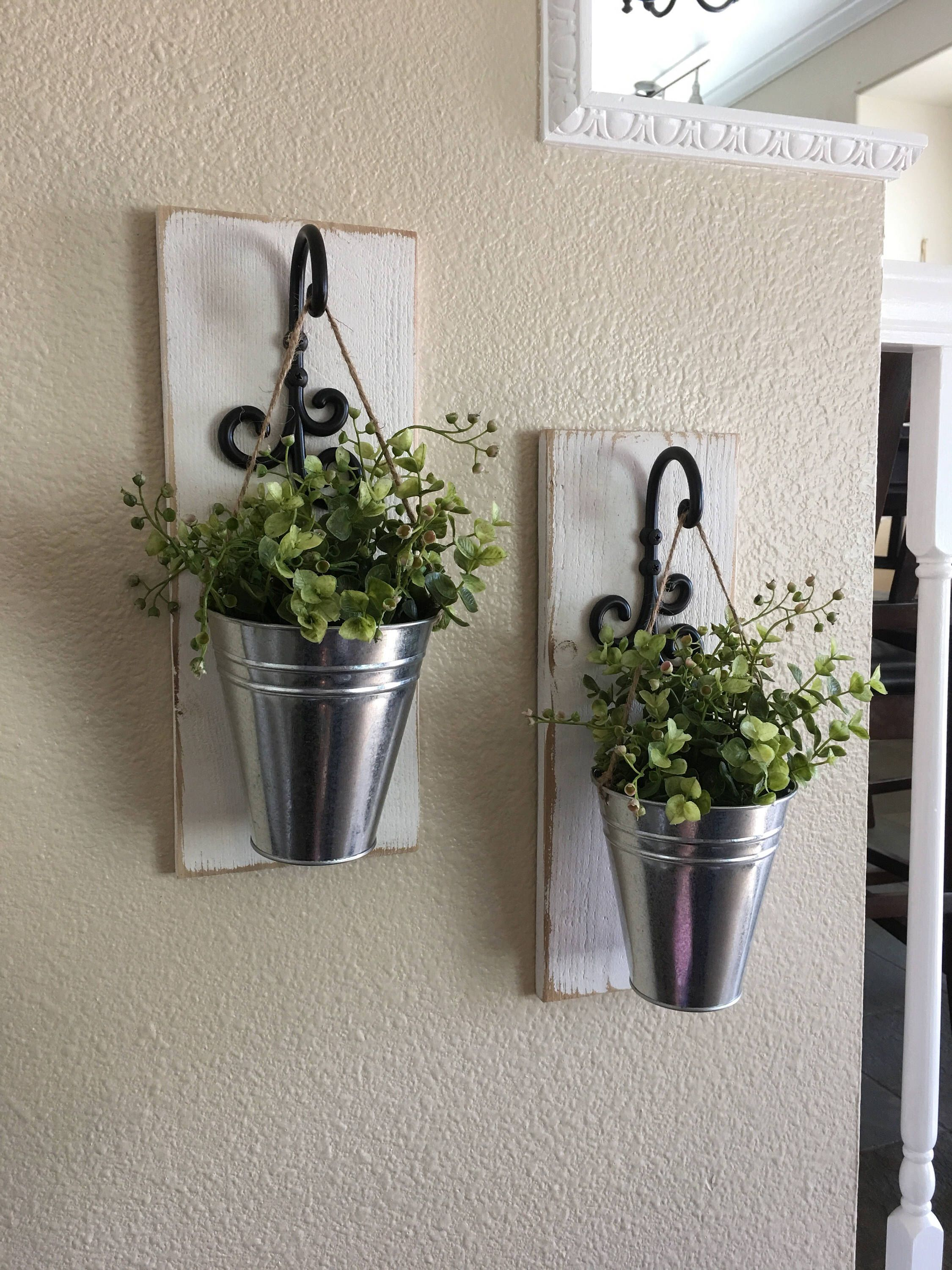 Farmhouse Wall Decor Galvanized Metal Sconce With Flowers Country Rustic Home By