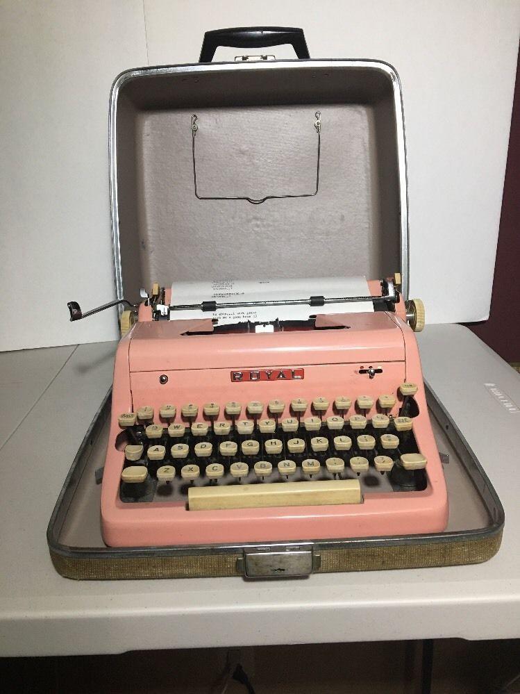Vintage Royal Portable Typewriter Part - 25: Vintage Royal Portable Typewriter Pink Quiet Deluxe Good Condition W/Case  1960s #Royal