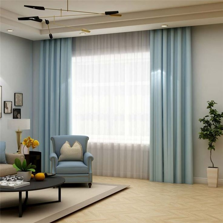 Solid Light Blue Curtain Modern Silk Imitation Curtain ...