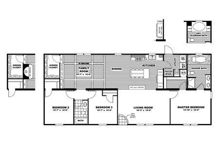 Floor plan from clayton homes prefab with a hidden room - Are modular homes safe ...