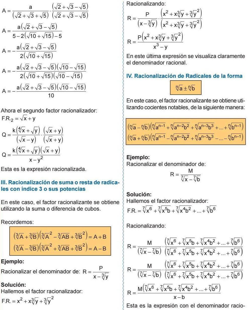 Racionalización De Suma O Resta De Radicales Con índice 3 O Sus Potencias Racionalización De Radicales De La Forma Geometry Problems Algebra Math