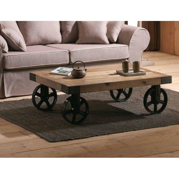 Table Basse Industrielle Roulettes Landaise Table Basse Roulette Table Basse Style Industriel Table Basse