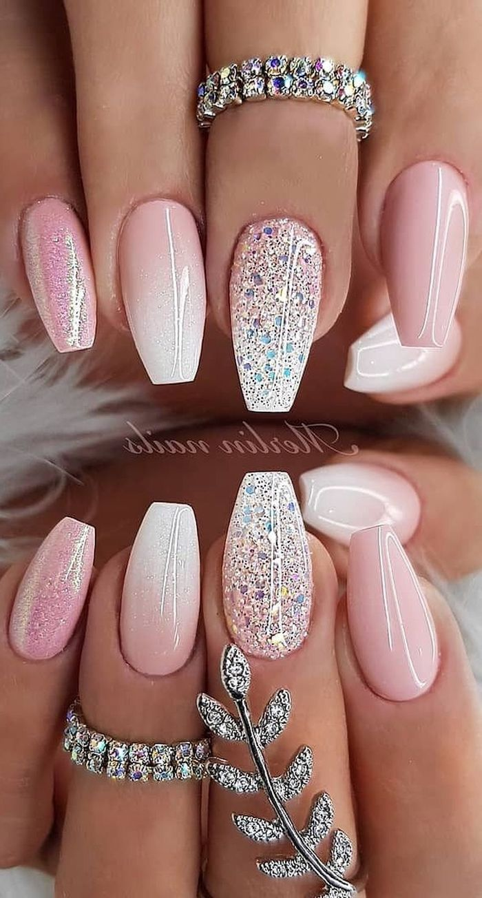 Pictures Of Cute Nails : pictures, nails, White, Ombre,, Glitter,, Polish,, Summer, Nails,, Rings, Rhinestones, Glitter, Designs, Nails