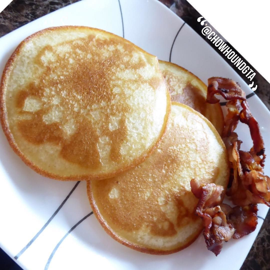 Our #breakfast of #pancakes and #bacon.  Go with what's simple and tasty sometimes.  Sugar and processed foods once in a while makes life worth living. #food #toronto