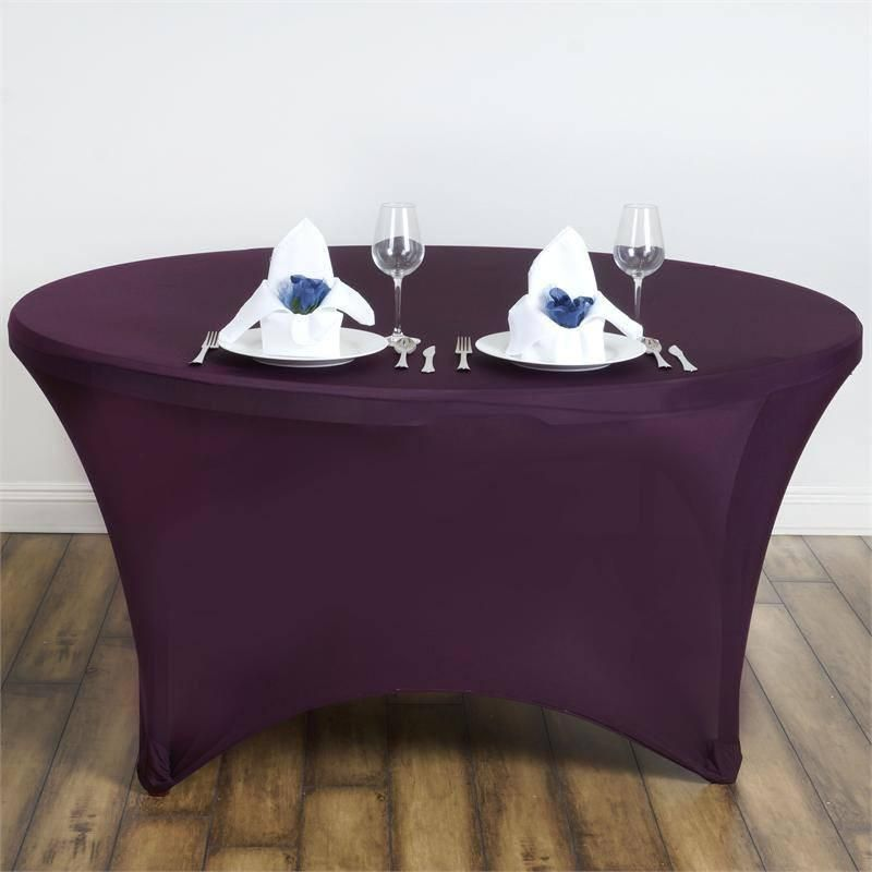 Superb 5 Ft Eggplant Round Stretch Spandex Tablecloth Tablecloths Machost Co Dining Chair Design Ideas Machostcouk