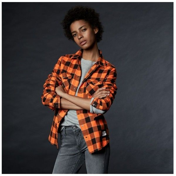 Levi's? NFL Plaid Western Shirt featuring polyvore women's fashion clothing tops bengals nfl shirts plaid top tartan shirt western shirts america shirts