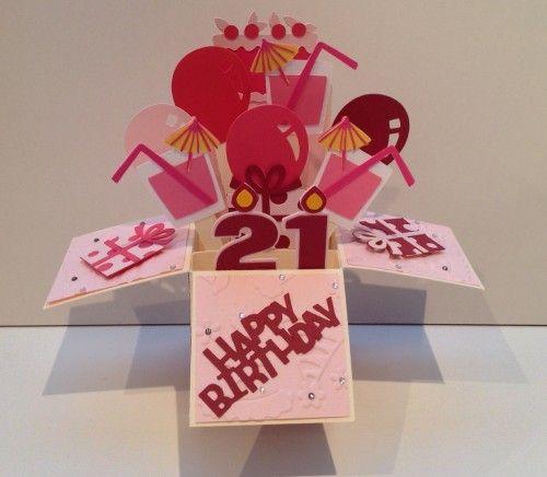 21st Birthday Girl Pop Up Box Card