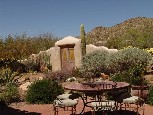 Desert Landscaping I Want This Wall Door In My Backyard Desert Landscape Design Desert Backyard Desert Landscaping