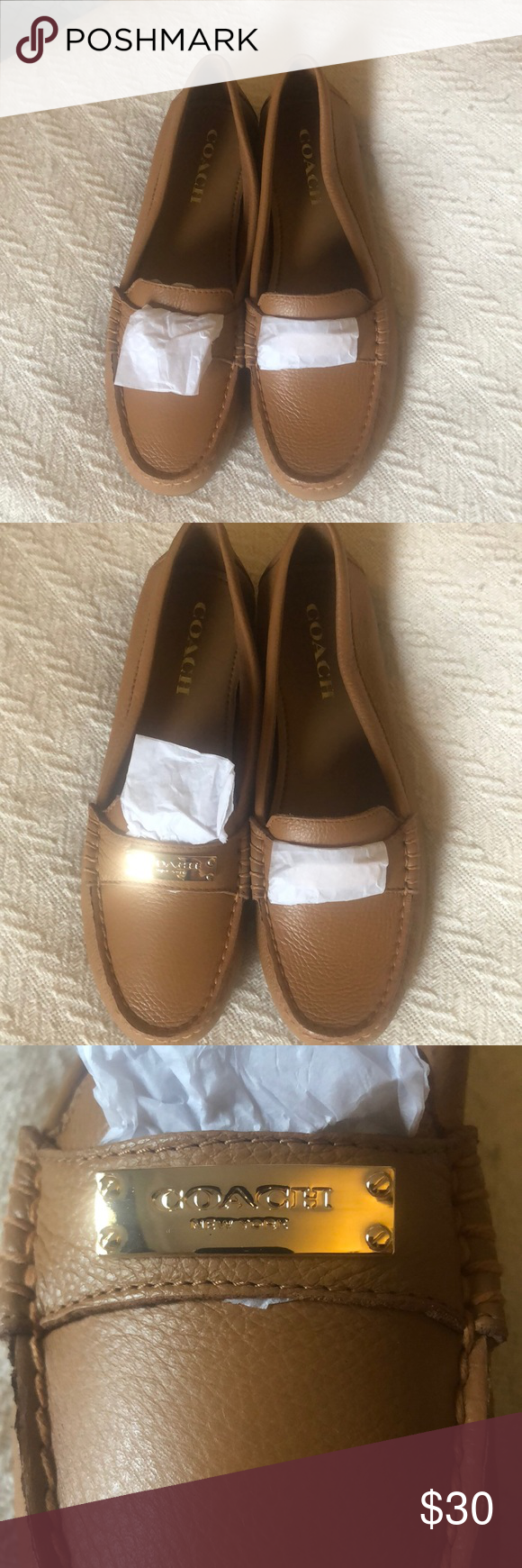 5f05b4e80b9 Coach Loafers Brown Tan Coach Loafers With Gold Detail Size 7.5 Brand New  Never Worn Coach Shoes Flats   Loafers